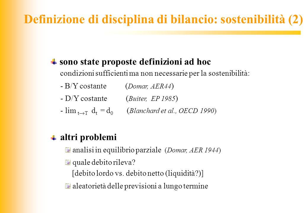 JIQ Definizione di disciplina di bilancio: sostenibilità (2) sono state proposte definizioni ad hoc condizioni sufficienti ma non necessarie per la so