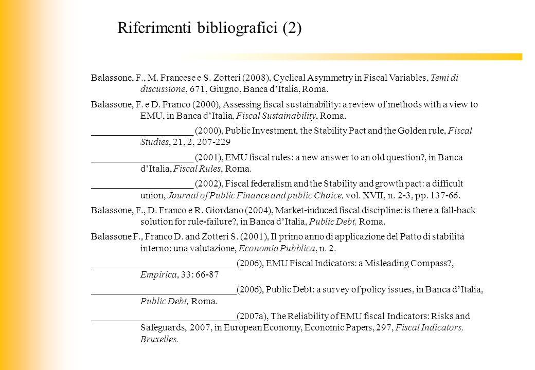JIQ Balassone, F., M. Francese e S. Zotteri (2008), Cyclical Asymmetry in Fiscal Variables, Temi di discussione, 671, Giugno, Banca dItalia, Roma. Bal