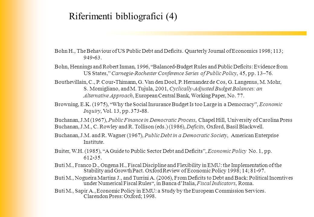 JIQ Bohn H., The Behaviour of US Public Debt and Deficits. Quarterly Journal of Economics 1998; 113; 949-63. Bohn, Hennings and Robert Inman, 1996, Ba