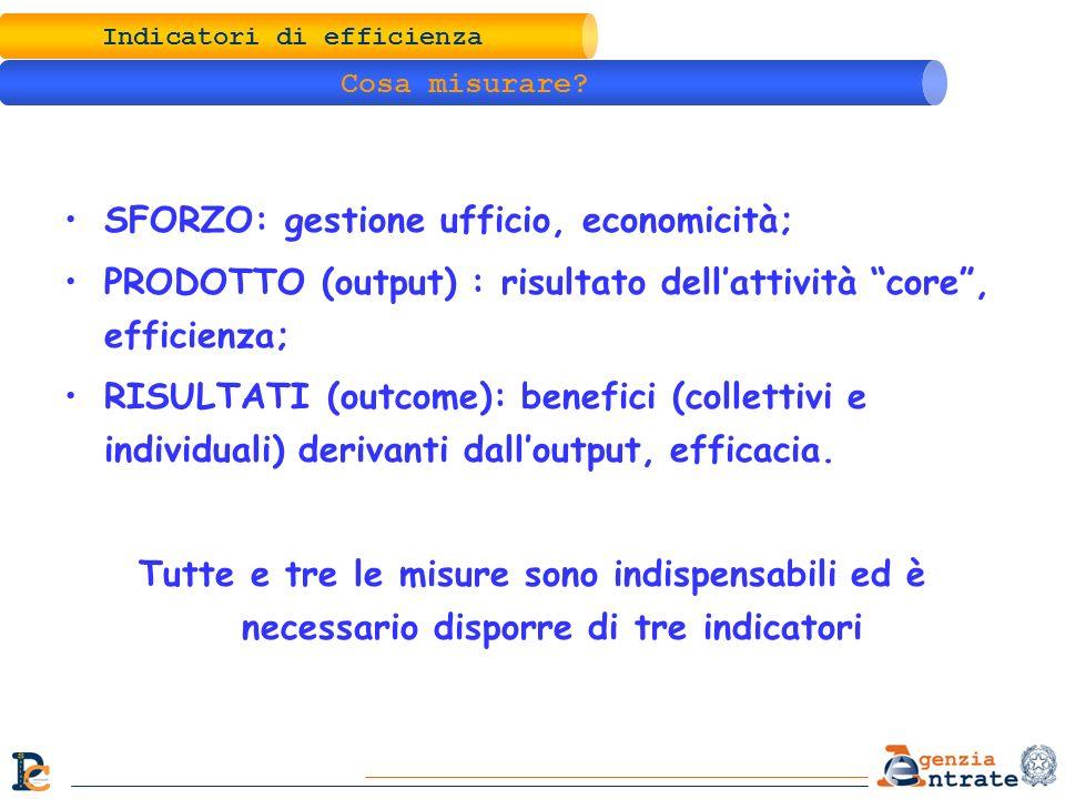 Indicatori di efficienza Cosa misurare? SFORZO: gestione ufficio, economicità; PRODOTTO (output) : risultato dellattività core, efficienza; RISULTATI