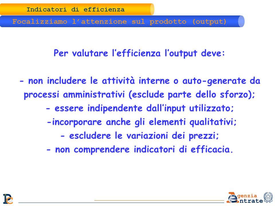 Indicatori di efficienza Focalizziamo lattenzione sul prodotto (output) Per valutare lefficienza loutput deve: - non includere le attività interne o a