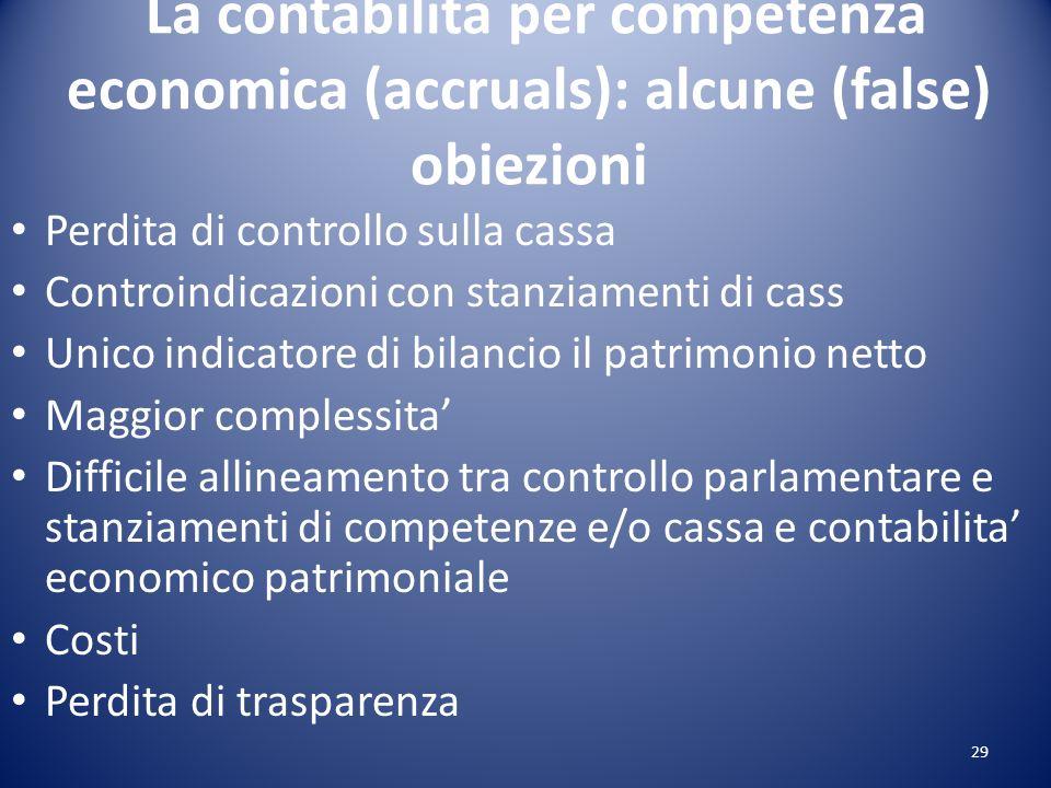 La contabilità per competenza economica (accruals): alcune (false) obiezioni Perdita di controllo sulla cassa Controindicazioni con stanziamenti di ca