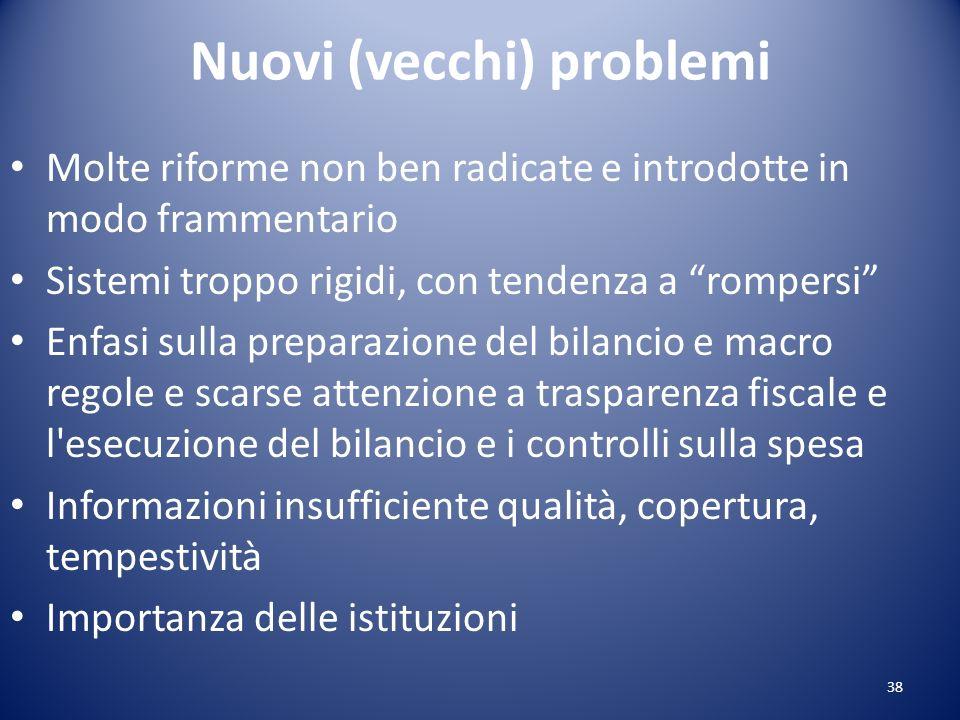 Nuovi (vecchi) problemi Molte riforme non ben radicate e introdotte in modo frammentario Sistemi troppo rigidi, con tendenza a rompersi Enfasi sulla p