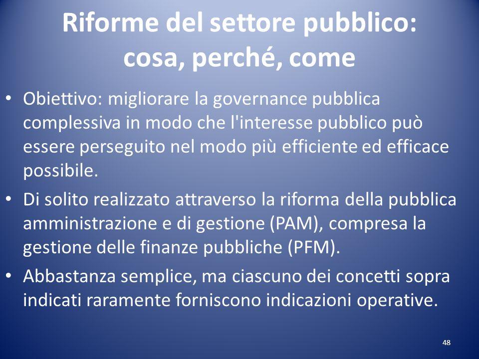 Riforme del settore pubblico: cosa, perché, come Obiettivo: migliorare la governance pubblica complessiva in modo che l'interesse pubblico può essere