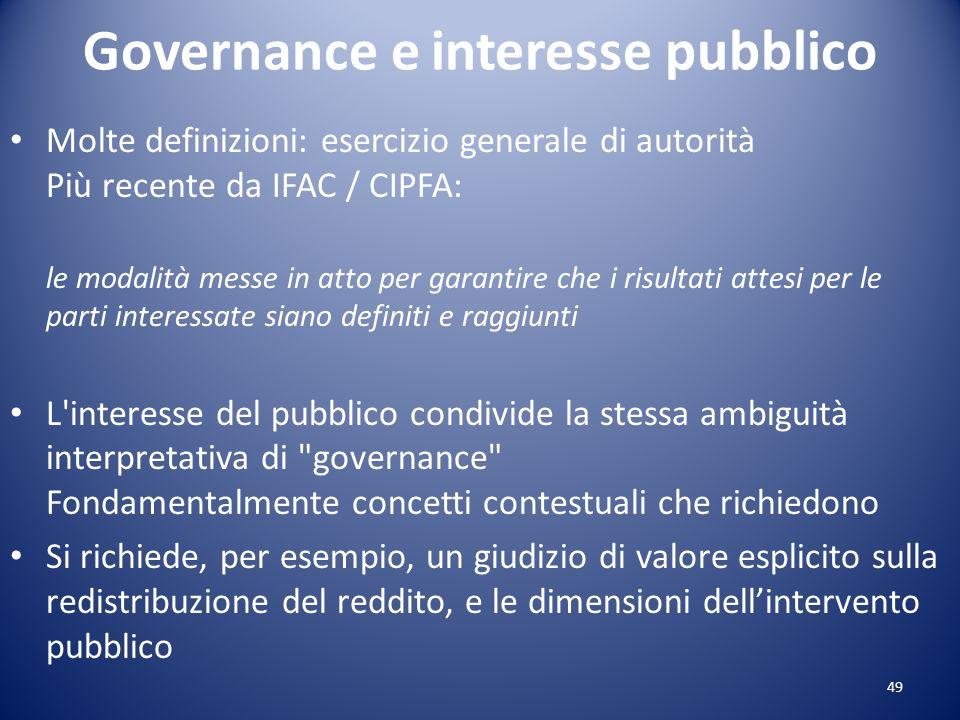 Governance e interesse pubblico Molte definizioni: esercizio generale di autorità Più recente da IFAC / CIPFA: le modalità messe in atto per garantire