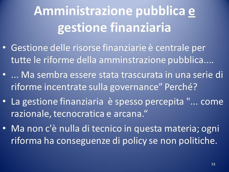 Amministrazione pubblica e gestione finanziaria Gestione delle risorse finanziarie è centrale per tutte le riforme della amminstrazione pubblica......