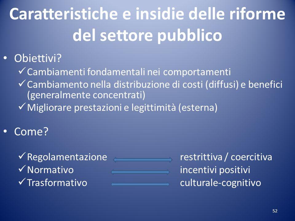 Caratteristiche e insidie delle riforme del settore pubblico Obiettivi? Cambiamenti fondamentali nei comportamenti Cambiamento nella distribuzione di