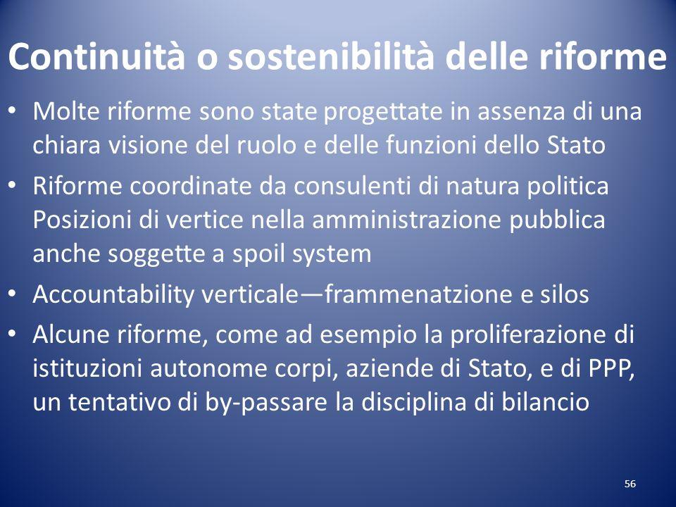 Continuità o sostenibilità delle riforme Molte riforme sono state progettate in assenza di una chiara visione del ruolo e delle funzioni dello Stato R
