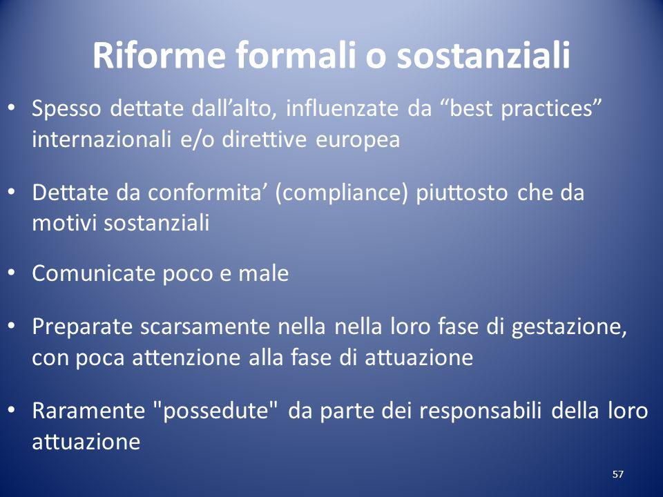 Riforme formali o sostanziali Spesso dettate dallalto, influenzate da best practices internazionali e/o direttive europea Dettate da conformita (compl