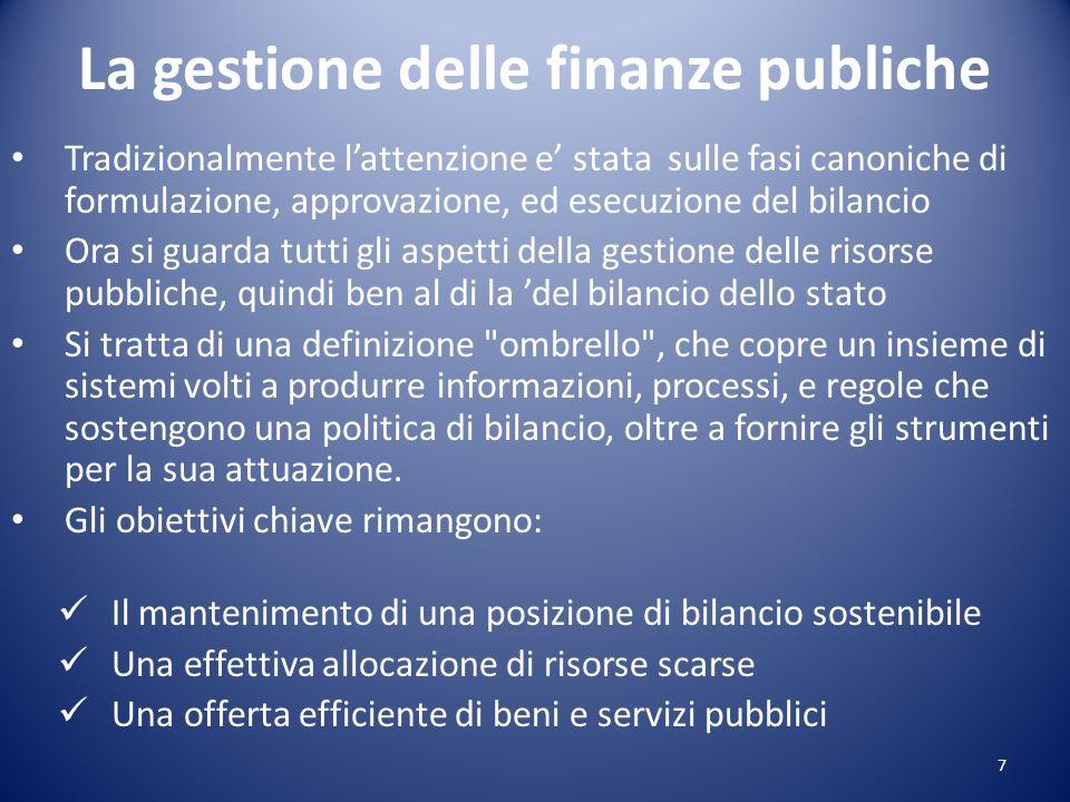 La gestione delle finanze publiche Tradizionalmente lattenzione e stata sulle fasi canoniche di formulazione, approvazione, ed esecuzione del bilancio
