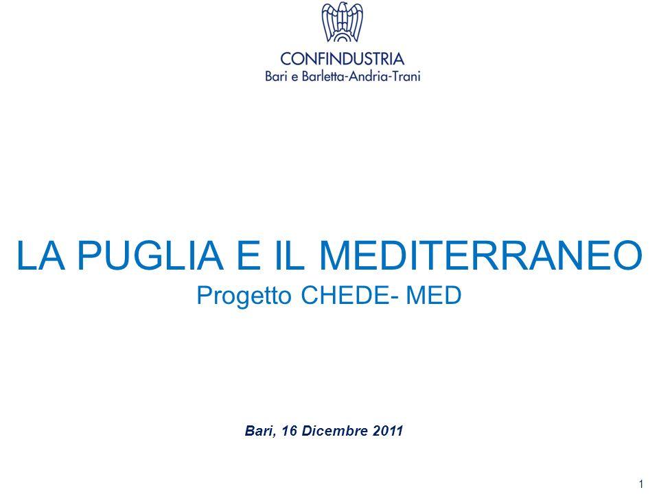 LA PUGLIA E IL MEDITERRANEO Progetto CHEDE- MED Bari, 16 Dicembre 2011 1