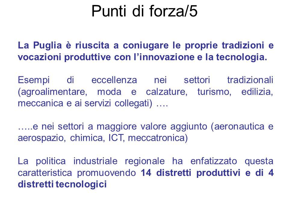 Punti di forza/5 - La Puglia è riuscita a coniugare le proprie tradizioni e vocazioni produttive con linnovazione e la tecnologia. Esempi di eccellenz