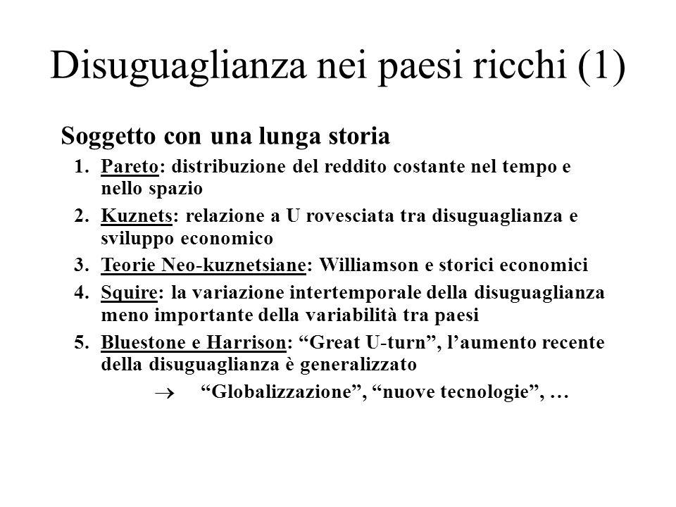Soggetto con una lunga storia 1.Pareto: distribuzione del reddito costante nel tempo e nello spazio 2.Kuznets: relazione a U rovesciata tra disuguagli