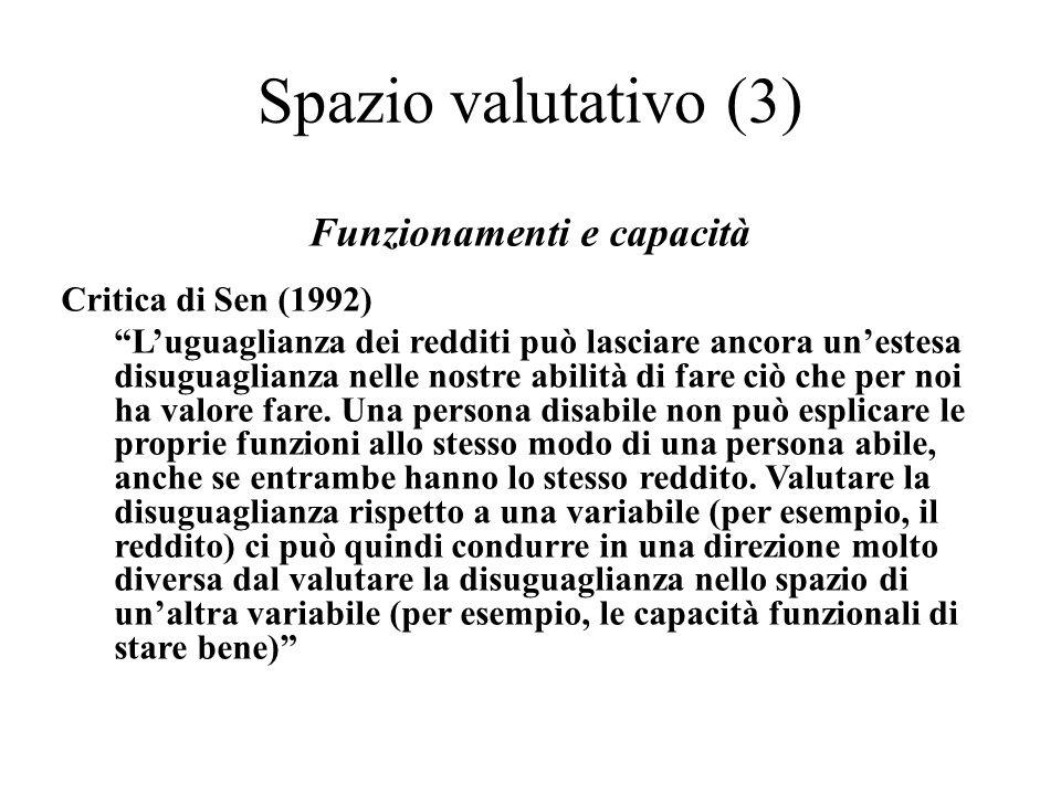 Funzionamenti e capacità Critica di Sen (1992) Luguaglianza dei redditi può lasciare ancora unestesa disuguaglianza nelle nostre abilità di fare ciò c