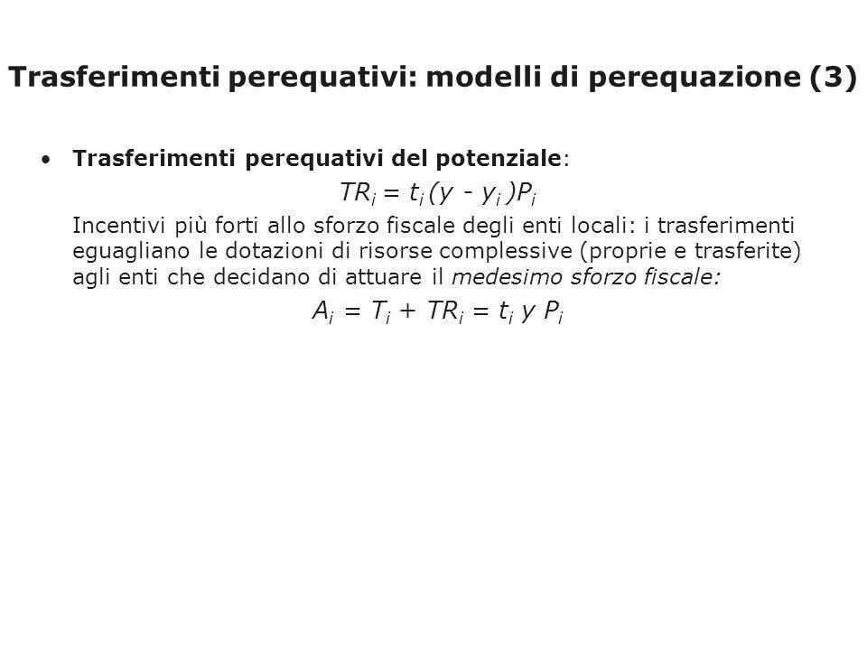 Trasferimenti perequativi: modelli di perequazione (3) Trasferimenti perequativi del potenziale: TR i = t i (y - y i )P i Incentivi più forti allo sforzo fiscale degli enti locali: i trasferimenti eguagliano le dotazioni di risorse complessive (proprie e trasferite) agli enti che decidano di attuare il medesimo sforzo fiscale: A i = T i + TR i = t i y P i