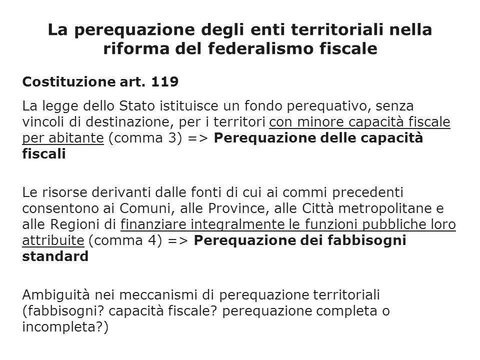 La perequazione degli enti territoriali nella riforma del federalismo fiscale Costituzione art.