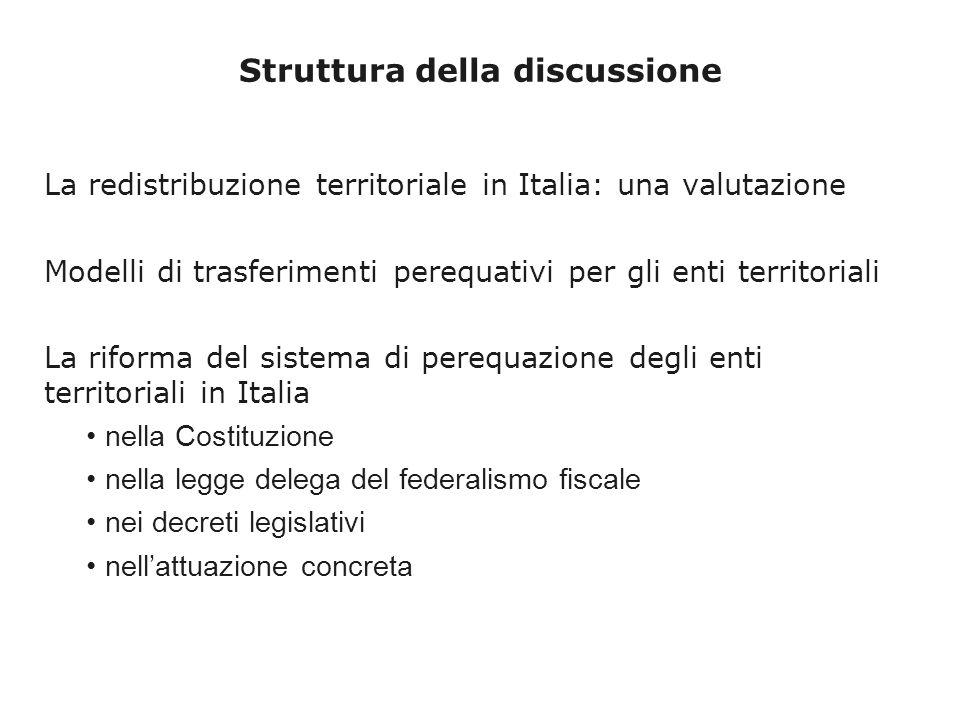 Struttura della discussione La redistribuzione territoriale in Italia: una valutazione Modelli di trasferimenti perequativi per gli enti territoriali La riforma del sistema di perequazione degli enti territoriali in Italia nella Costituzione nella legge delega del federalismo fiscale nei decreti legislativi nellattuazione concreta