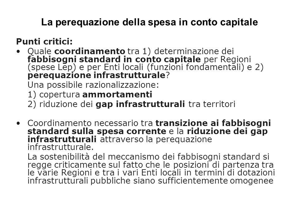 La perequazione della spesa in conto capitale Punti critici: Quale coordinamento tra 1) determinazione dei fabbisogni standard in conto capitale per Regioni (spese Lep) e per Enti locali (funzioni fondamentali) e 2) perequazione infrastrutturale.