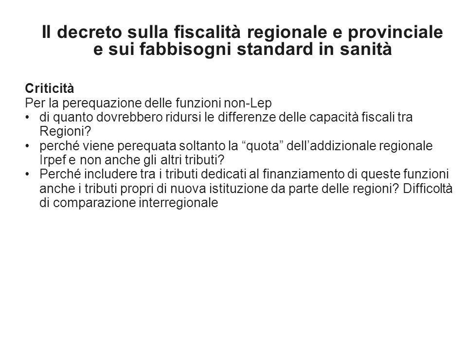 Il decreto sulla fiscalità regionale e provinciale e sui fabbisogni standard in sanità Criticità Per la perequazione delle funzioni non-Lep di quanto dovrebbero ridursi le differenze delle capacità fiscali tra Regioni.