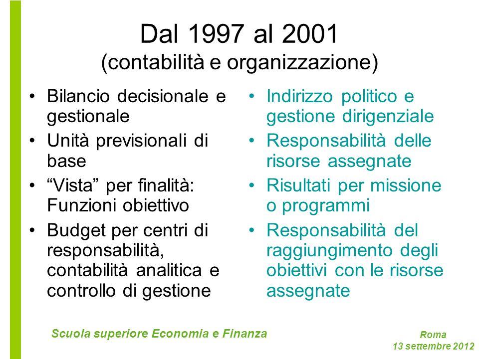 Roma 13 settembre 2012 Scuola superiore Economia e Finanza Dal 1997 al 2001 (contabilità e organizzazione) Bilancio decisionale e gestionale Unità pre