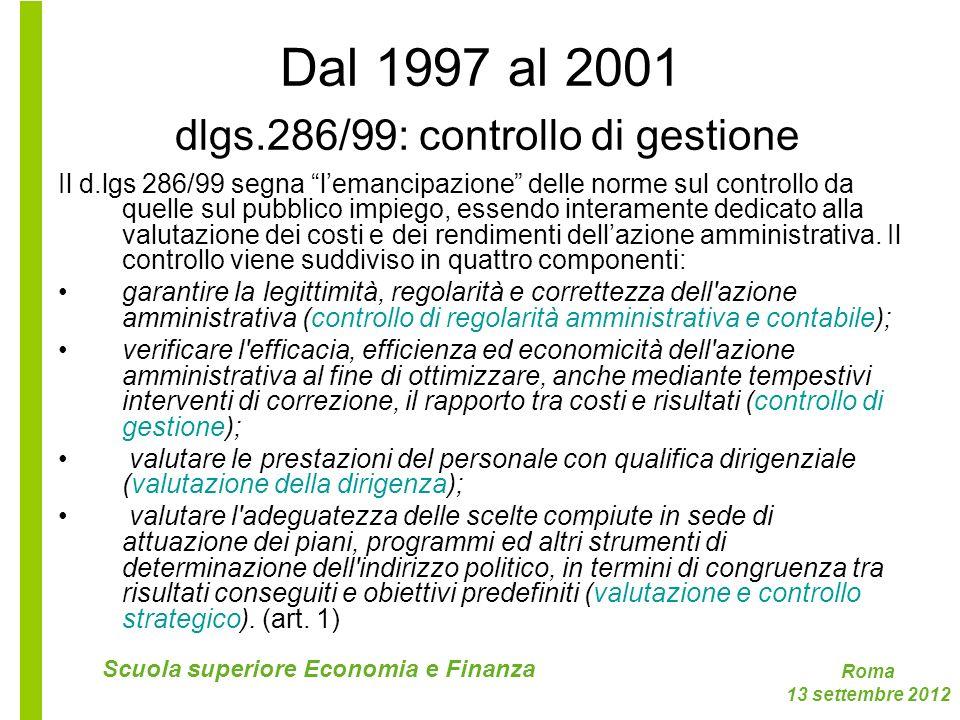 Roma 13 settembre 2012 Scuola superiore Economia e Finanza Dal 1997 al 2001 dlgs.286/99: controllo di gestione Il d.lgs 286/99 segna lemancipazione de