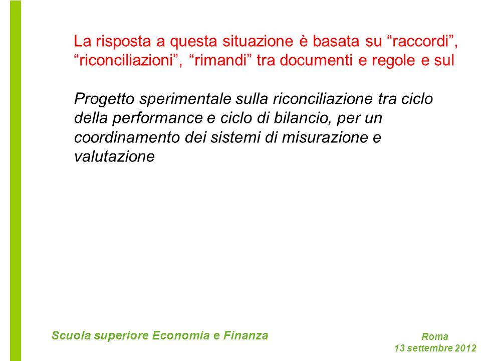Roma 13 settembre 2012 Scuola superiore Economia e Finanza La risposta a questa situazione è basata su raccordi, riconciliazioni, rimandi tra document