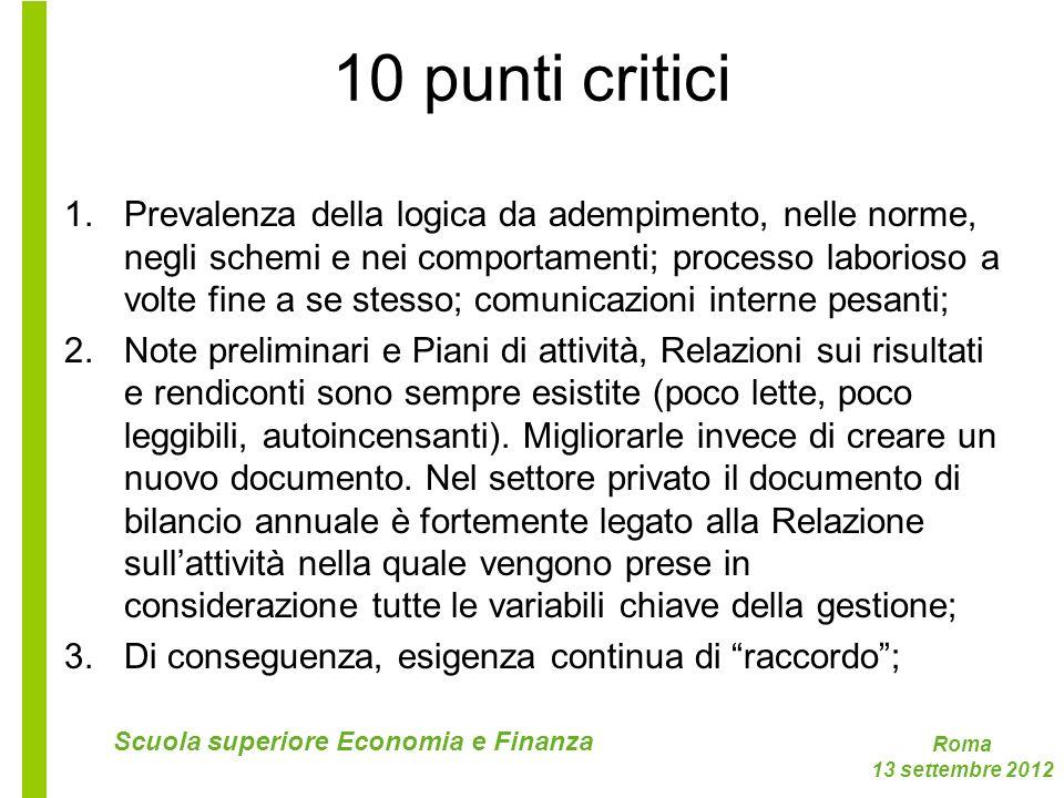 Roma 13 settembre 2012 Scuola superiore Economia e Finanza 10 punti critici 1.Prevalenza della logica da adempimento, nelle norme, negli schemi e nei