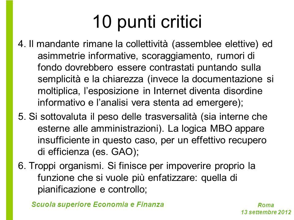 Roma 13 settembre 2012 Scuola superiore Economia e Finanza 10 punti critici 4. Il mandante rimane la collettività (assemblee elettive) ed asimmetrie i
