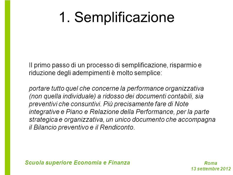 Roma 13 settembre 2012 Scuola superiore Economia e Finanza 1. Semplificazione Il primo passo di un processo di semplificazione, risparmio e riduzione
