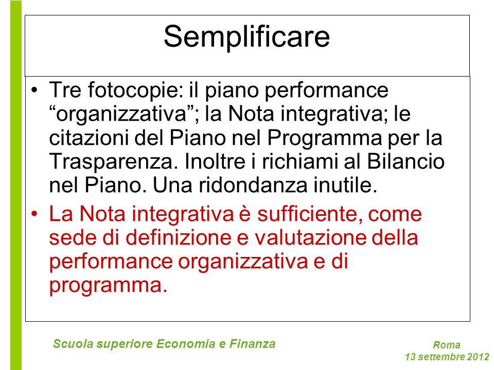 Roma 13 settembre 2012 Scuola superiore Economia e Finanza Semplificare Tre fotocopie: il piano performance organizzativa; la Nota integrativa; le cit