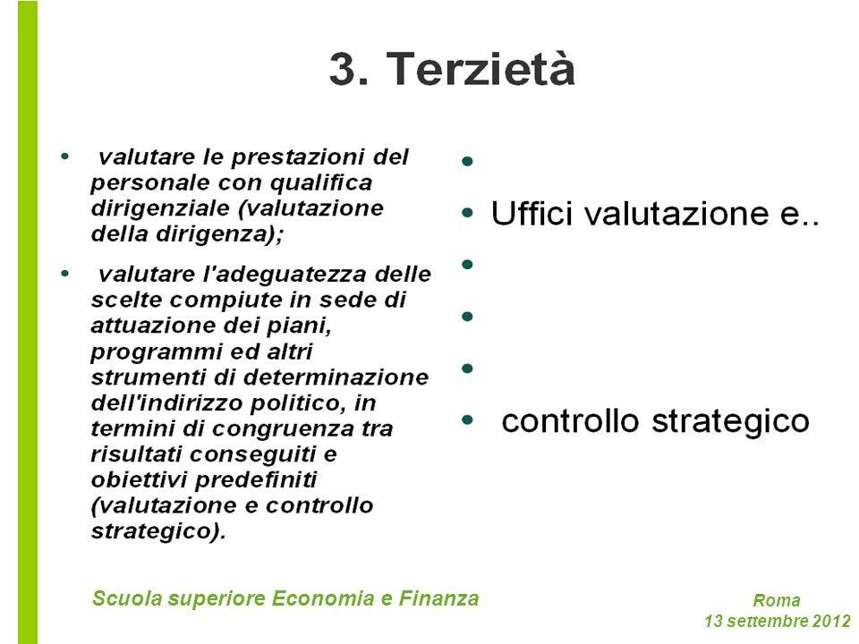 Roma 13 settembre 2012 Scuola superiore Economia e Finanza