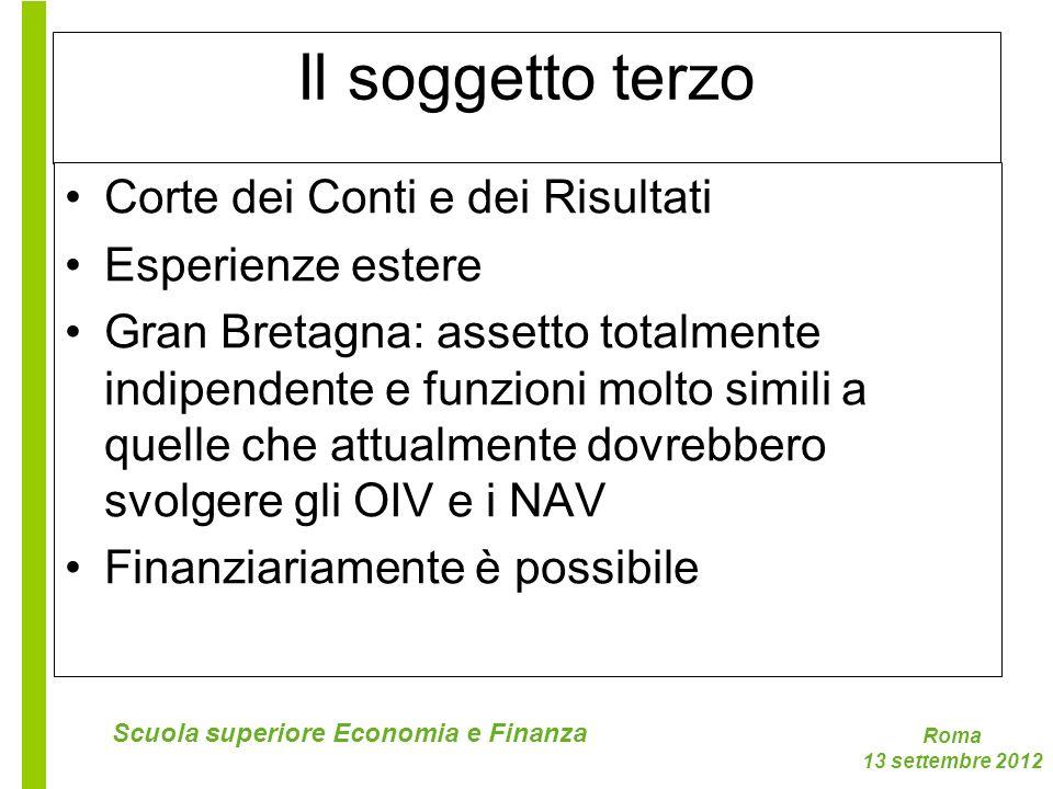 Roma 13 settembre 2012 Scuola superiore Economia e Finanza Il soggetto terzo Corte dei Conti e dei Risultati Esperienze estere Gran Bretagna: assetto