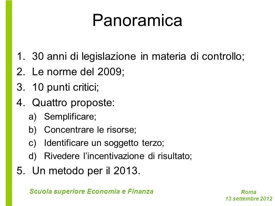 Roma 13 settembre 2012 Scuola superiore Economia e Finanza Panoramica 1.30 anni di legislazione in materia di controllo; 2.Le norme del 2009; 3.10 pun