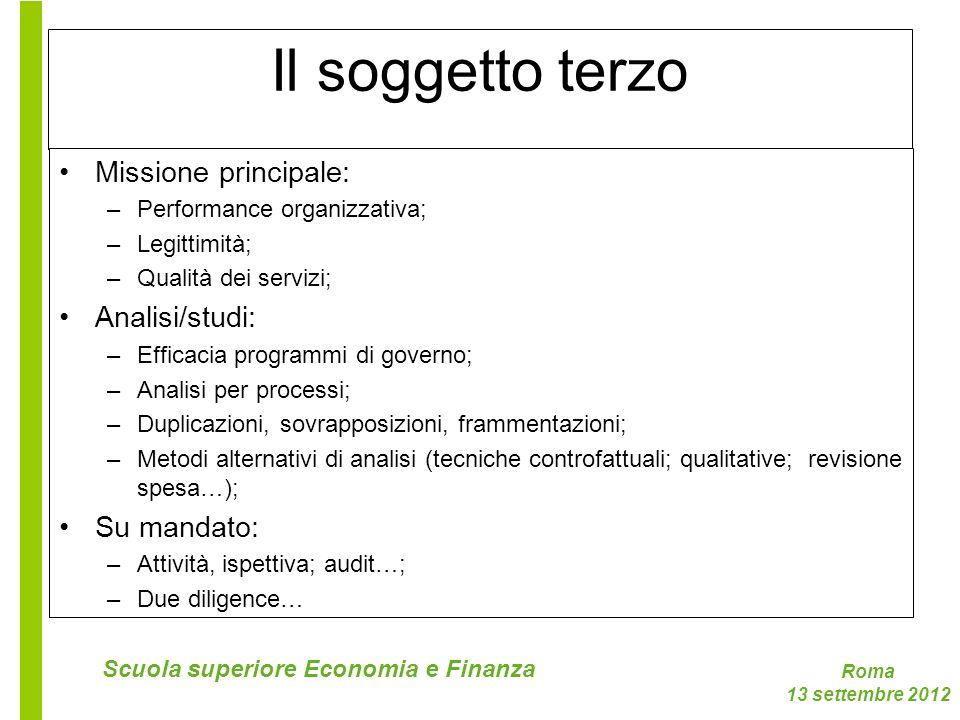 Roma 13 settembre 2012 Scuola superiore Economia e Finanza Il soggetto terzo Missione principale: –Performance organizzativa; –Legittimità; –Qualità d