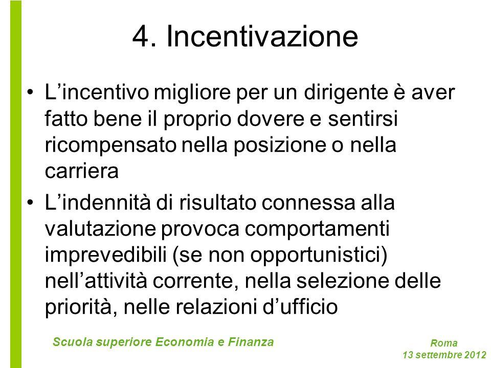 Roma 13 settembre 2012 Scuola superiore Economia e Finanza 4. Incentivazione Lincentivo migliore per un dirigente è aver fatto bene il proprio dovere
