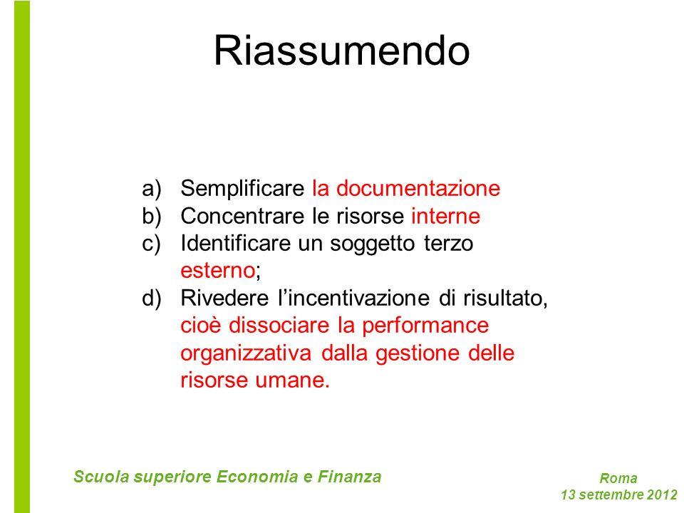 Roma 13 settembre 2012 Scuola superiore Economia e Finanza Riassumendo a)Semplificare la documentazione b)Concentrare le risorse interne c)Identificar