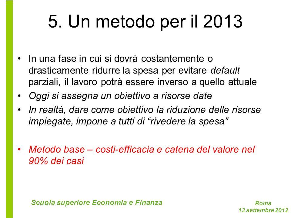 Roma 13 settembre 2012 Scuola superiore Economia e Finanza 5. Un metodo per il 2013 In una fase in cui si dovrà costantemente o drasticamente ridurre