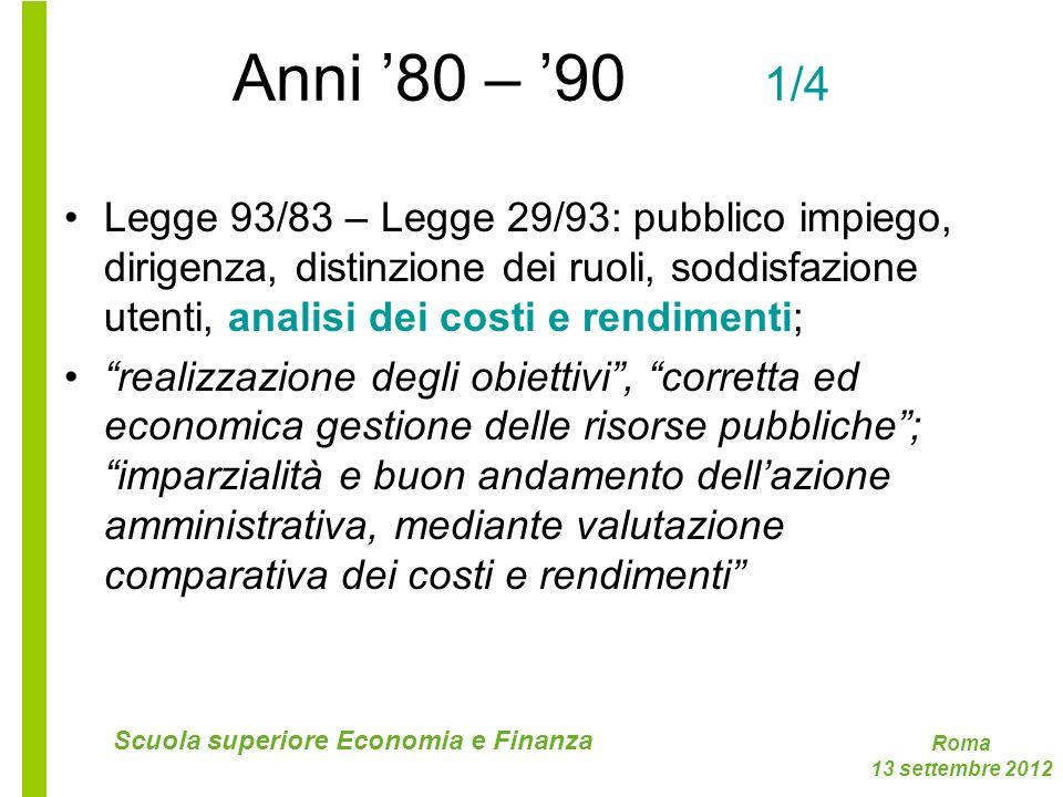 Roma 13 settembre 2012 Scuola superiore Economia e Finanza Anni 80 – 90 1/4 Legge 93/83 – Legge 29/93: pubblico impiego, dirigenza, distinzione dei ru