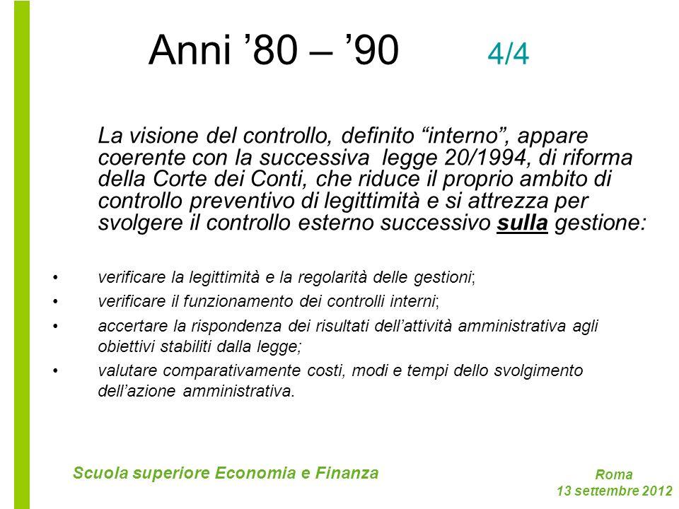 Roma 13 settembre 2012 Scuola superiore Economia e Finanza Anni 80 – 90 4/4 La visione del controllo, definito interno, appare coerente con la success
