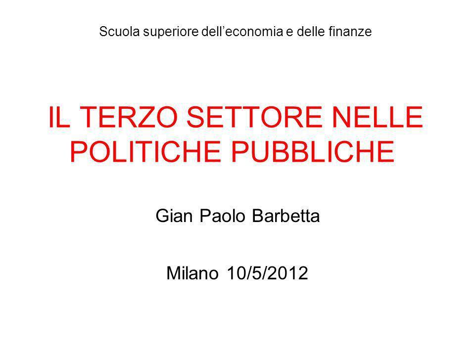 IL TERZO SETTORE NELLE POLITICHE PUBBLICHE Gian Paolo Barbetta Milano 10/5/2012 Scuola superiore delleconomia e delle finanze