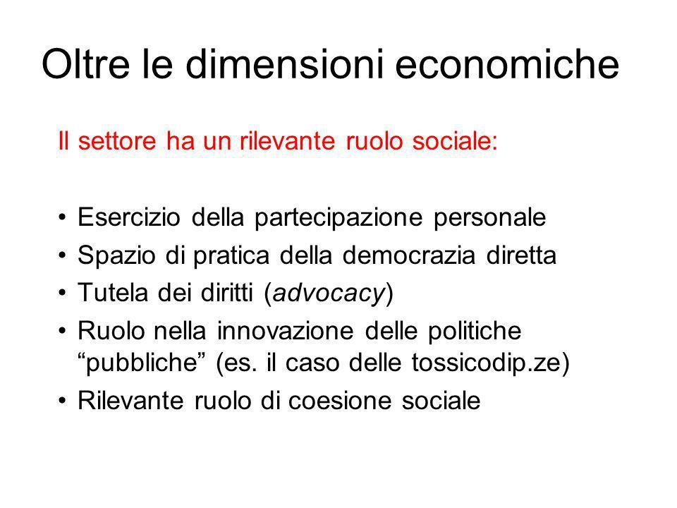 Oltre le dimensioni economiche Il settore ha un rilevante ruolo sociale: Esercizio della partecipazione personale Spazio di pratica della democrazia diretta Tutela dei diritti (advocacy) Ruolo nella innovazione delle politiche pubbliche (es.