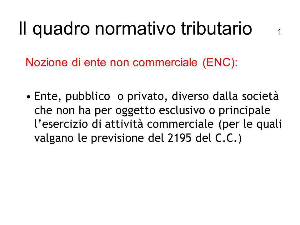 Il quadro normativo tributario 1 Nozione di ente non commerciale (ENC): Ente, pubblico o privato, diverso dalla società che non ha per oggetto esclusivo o principale lesercizio di attività commerciale (per le quali valgano le previsione del 2195 del C.C.)