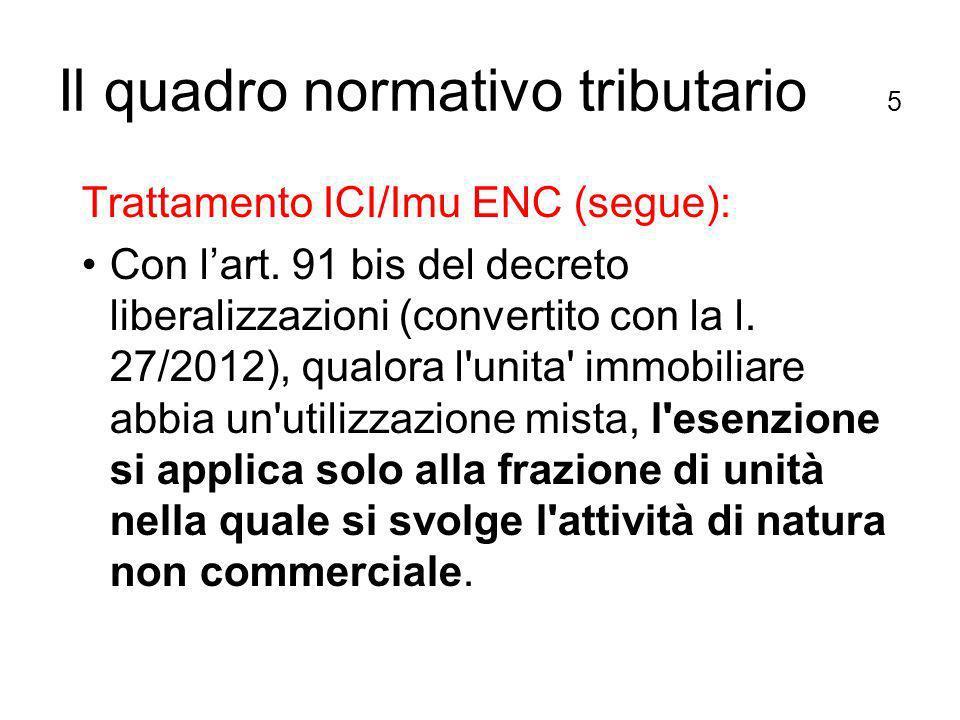 Il quadro normativo tributario 5 Trattamento ICI/Imu ENC (segue): Con lart.