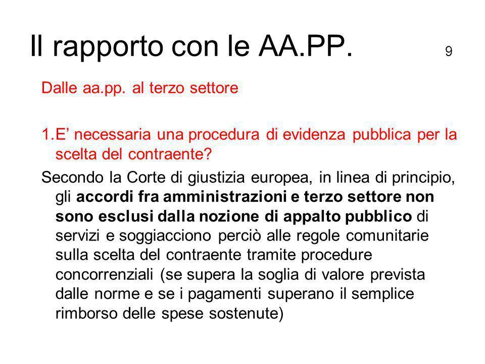 Il rapporto con le AA.PP. 9 Dalle aa.pp.