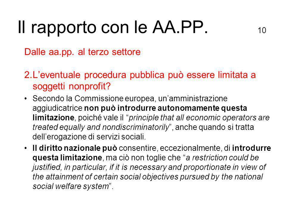 Il rapporto con le AA.PP. 10 Dalle aa.pp.