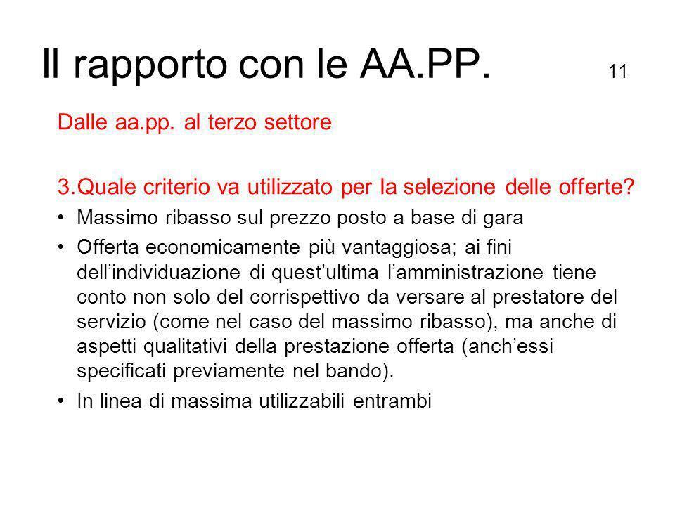 Il rapporto con le AA.PP. 11 Dalle aa.pp.