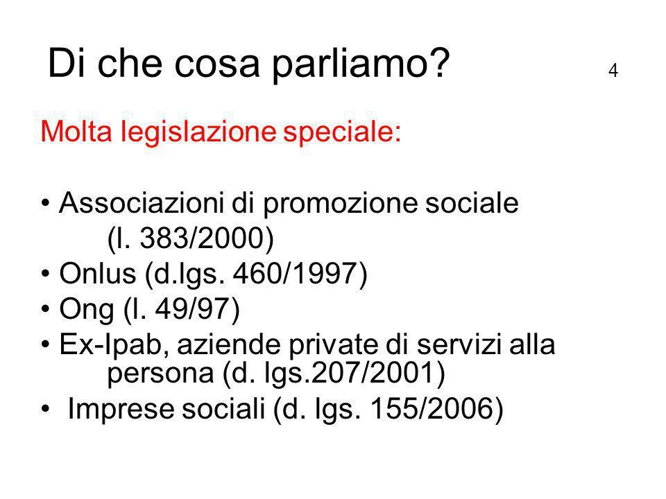 Di che cosa parliamo. 4 Molta legislazione speciale: Associazioni di promozione sociale (l.