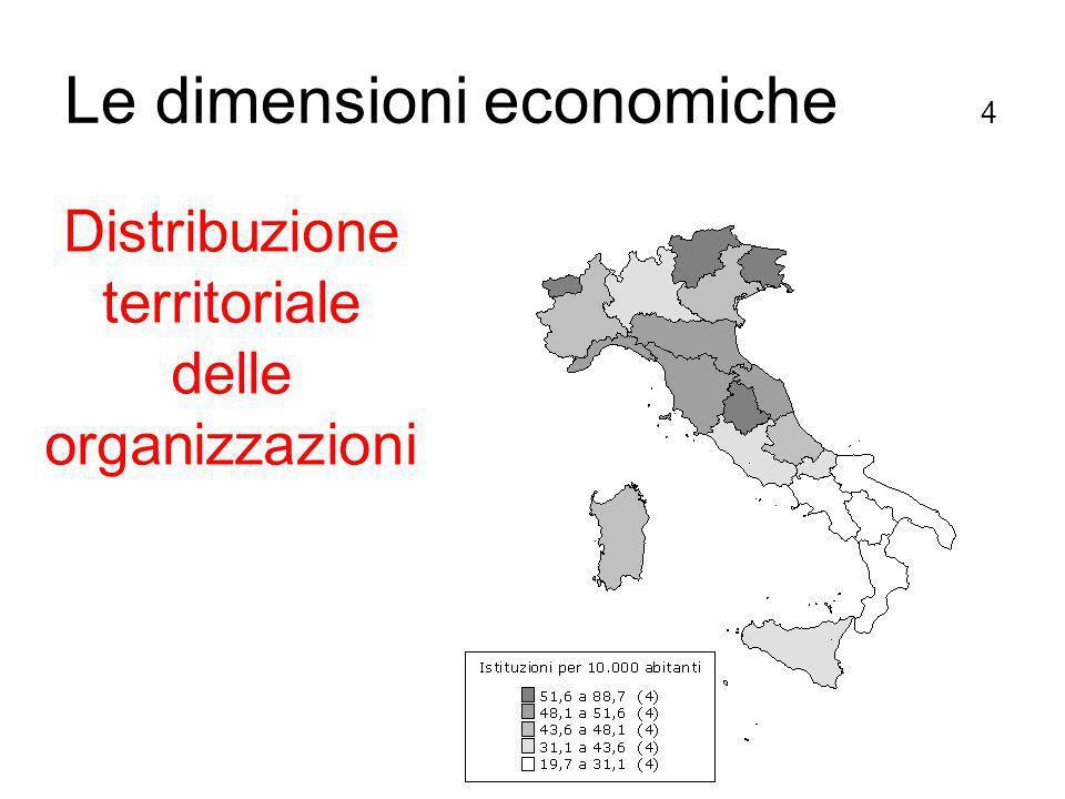 Distribuzione territoriale delle organizzazioni Le dimensioni economiche 4