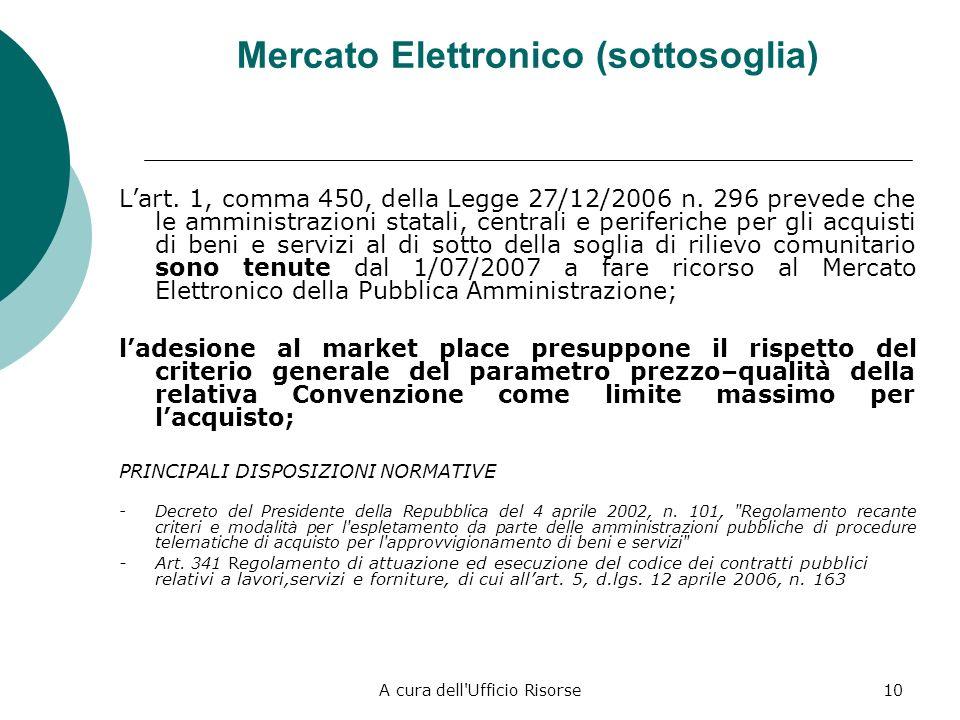 A cura dell'Ufficio Risorse9 Convenzione Consip (6) ADESIONE FACOLTATIVA Art. 26 (Acquisto di beni e servizi), Legge 23 dicembre 1999, n. 488 Comma 3-