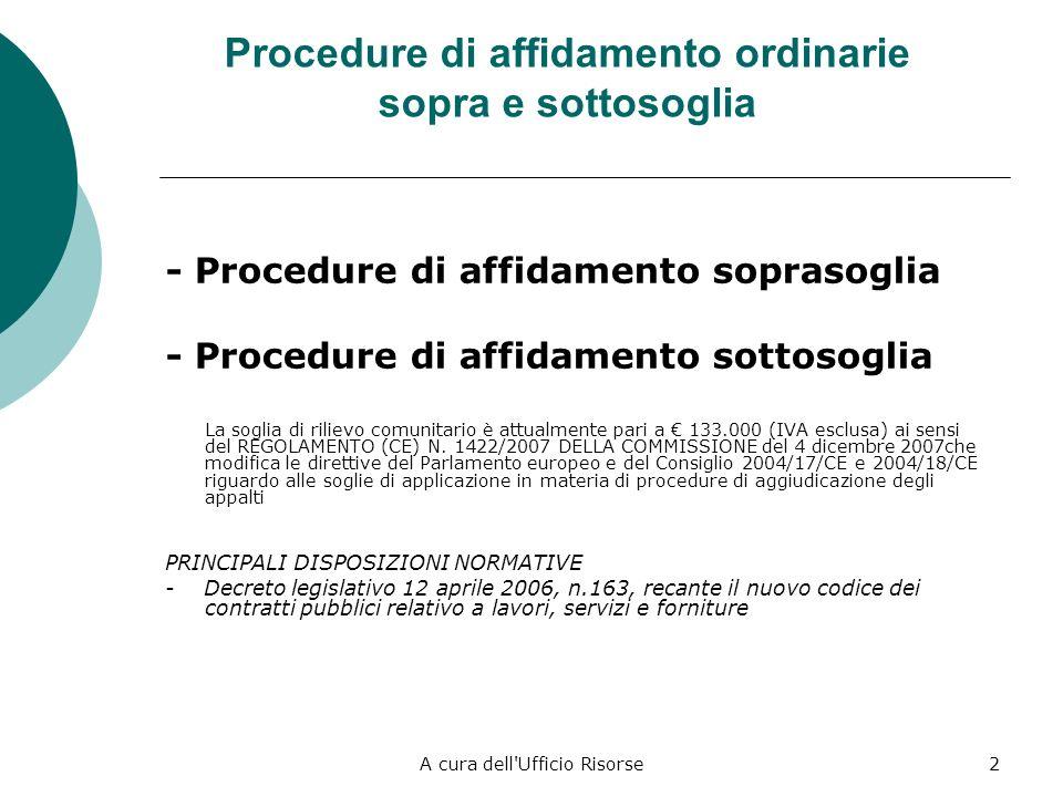 A cura dell Ufficio Risorse2 Procedure di affidamento ordinarie sopra e sottosoglia - Procedure di affidamento soprasoglia - Procedure di affidamento sottosoglia La soglia di rilievo comunitario è attualmente pari a 133.000 (IVA esclusa) ai sensi del REGOLAMENTO (CE) N.